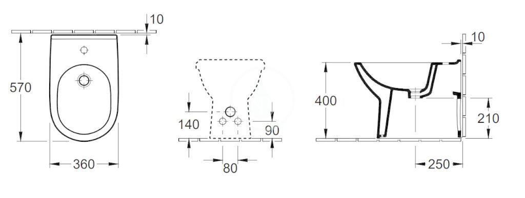 VILLEROY & BOCH - O.novo Stojaci bidet, s 1 otvorom na batériu, AntiBac, alpská biela (546100T1)