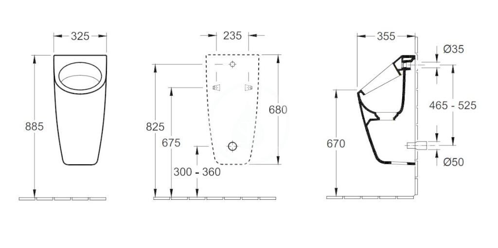 VILLEROY & BOCH - Architectura Odsávací pisoár, zadný prívod, AntiBac, alpská biela (558600T1)
