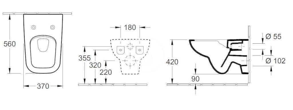 VILLEROY & BOCH - Joyce Závesné WC so sedadlom SoftClosing, DirectFlush, alpská biela (5607R201)