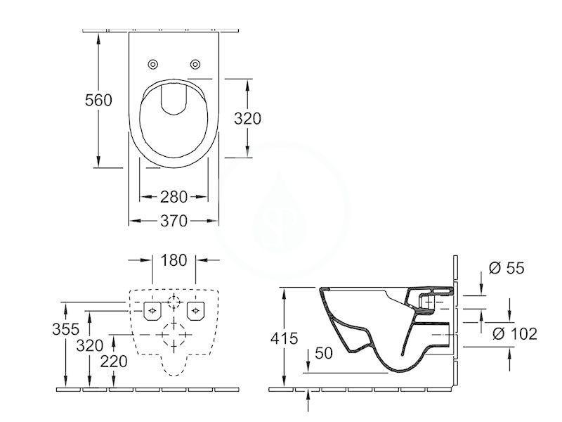VILLEROY & BOCH - Subway 2.0 Závesné WC, DirectFlush, CeramicPlus, Pergamon (5614R0R3)