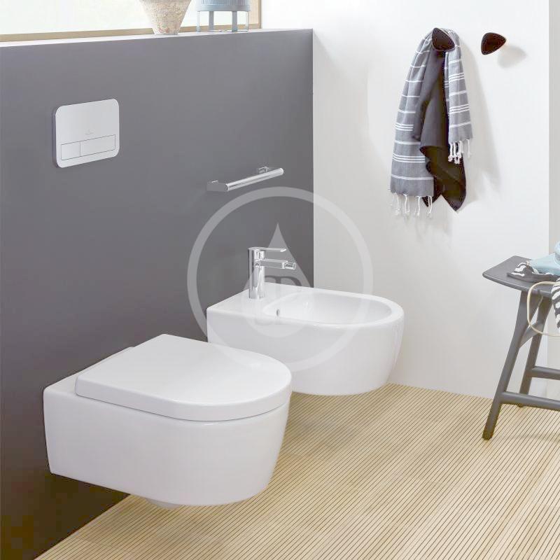 VILLEROY & BOCH - Avento Závesné WC so sedadlom SoftClosing, DirectFlush, CeramicPlus, Stone White (5656HRRW)