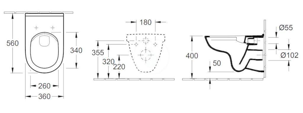 VILLEROY & BOCH - O.novo Závesné WC, DirectFlush, AntiBac, alpská biela (5660R0T1)