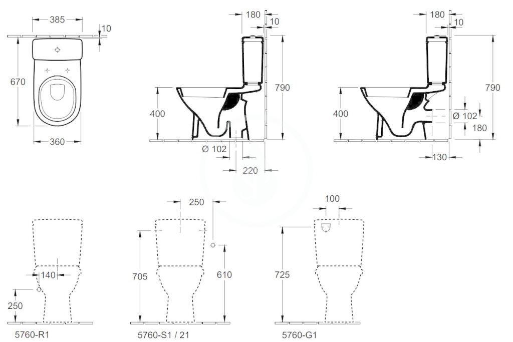 VILLEROY & BOCH - O.novo WC kombi misa, zadný odpad, AntiBac, alpská biela (566110T1)