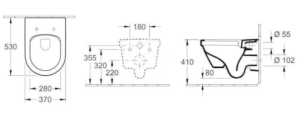 VILLEROY & BOCH - Architectura Závesné WC, zadný odpad, DirectFlush, AntiBac, alpská biela (5684R0T1)