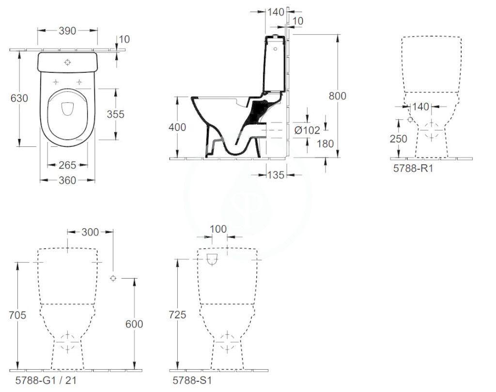 VILLEROY & BOCH - O.novo WC kombi misa Compact, zadný odpad, DirectFlush, alpská biela (5689R001)