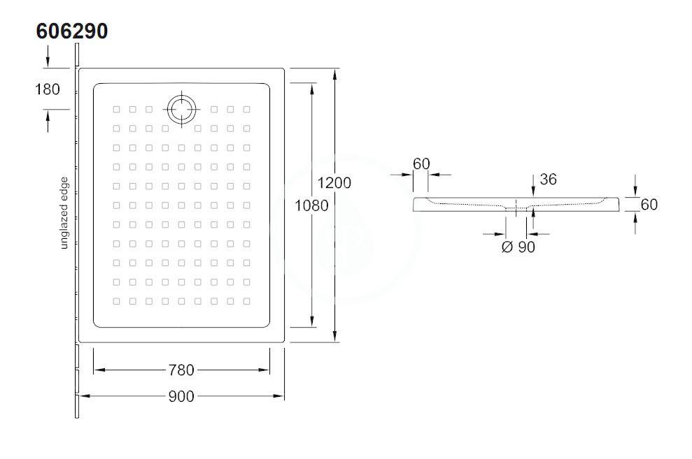 VILLEROY & BOCH - O.novo Sprchová vanička, 900x1200 mm, alpská biela (60629001)