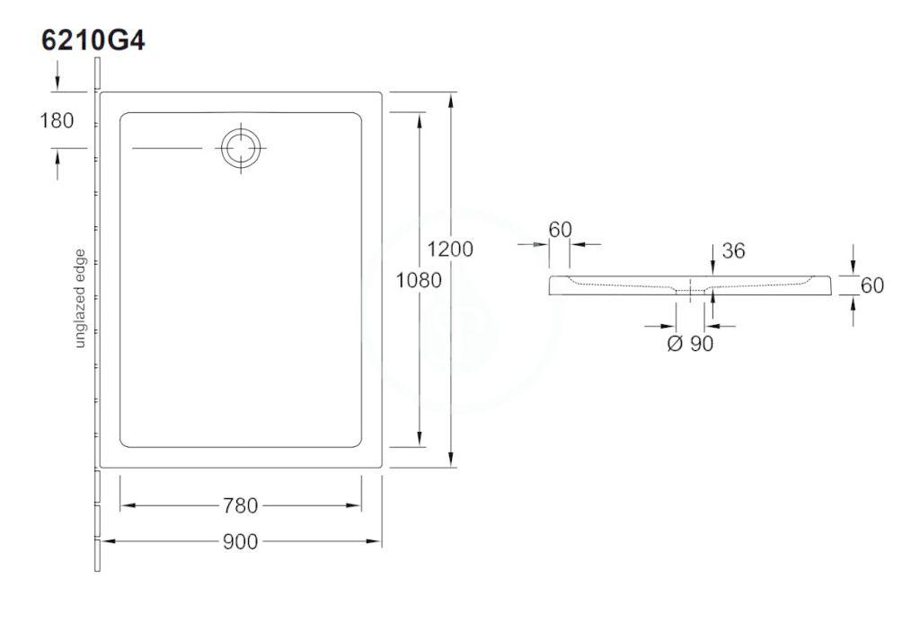 VILLEROY & BOCH - O.novo Plus Sprchová vanička, 900x1200 mm, Anti-slip, alpská biela (6210G401)