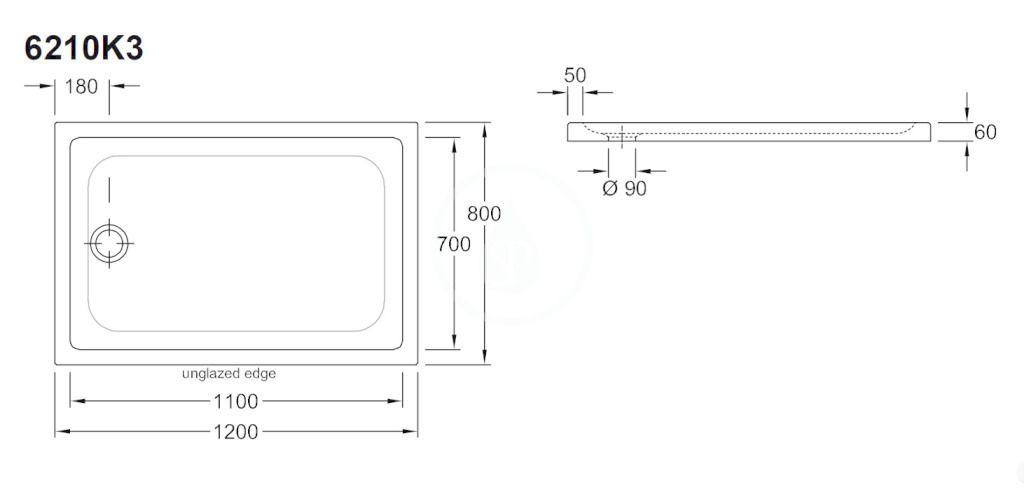 VILLEROY & BOCH - O.novo Plus Sprchová vanička, 800x1200 mm, Anti-slip, alpská biela (6210K301)