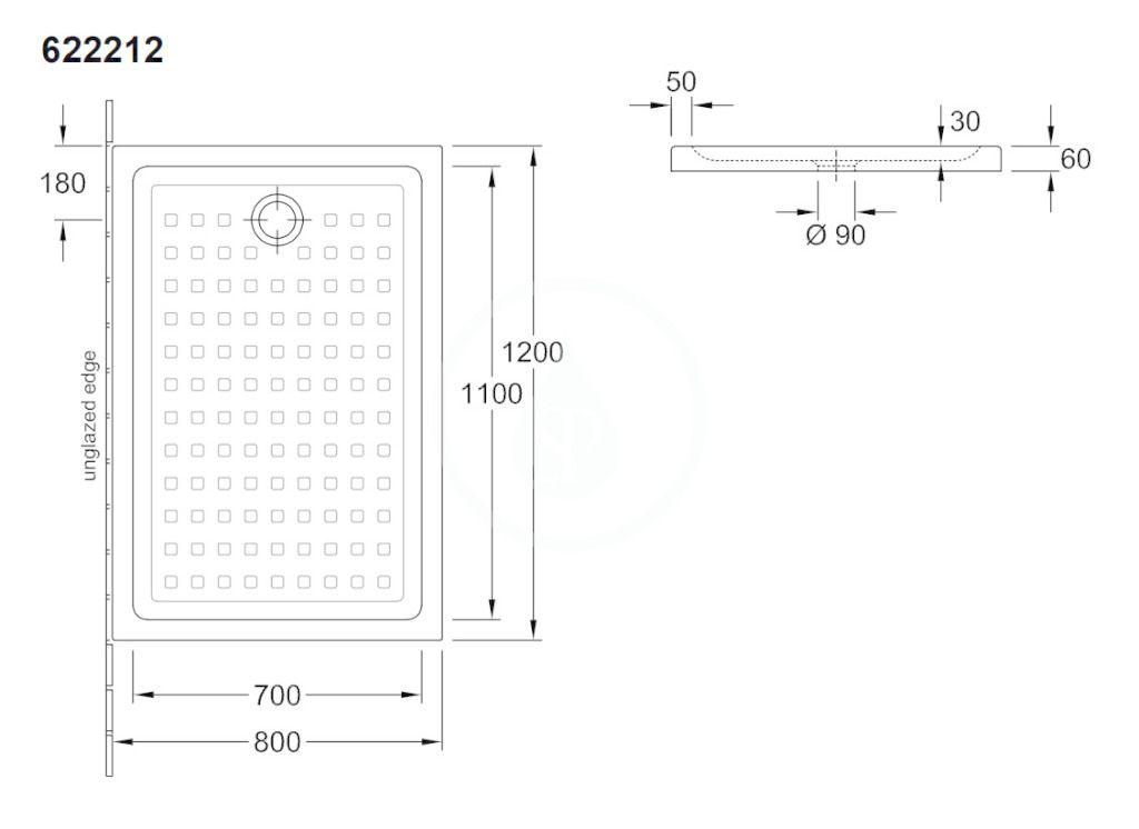 VILLEROY & BOCH - O.novo Sprchová vanička, 800x1200 mm, alpská biela (62221201)