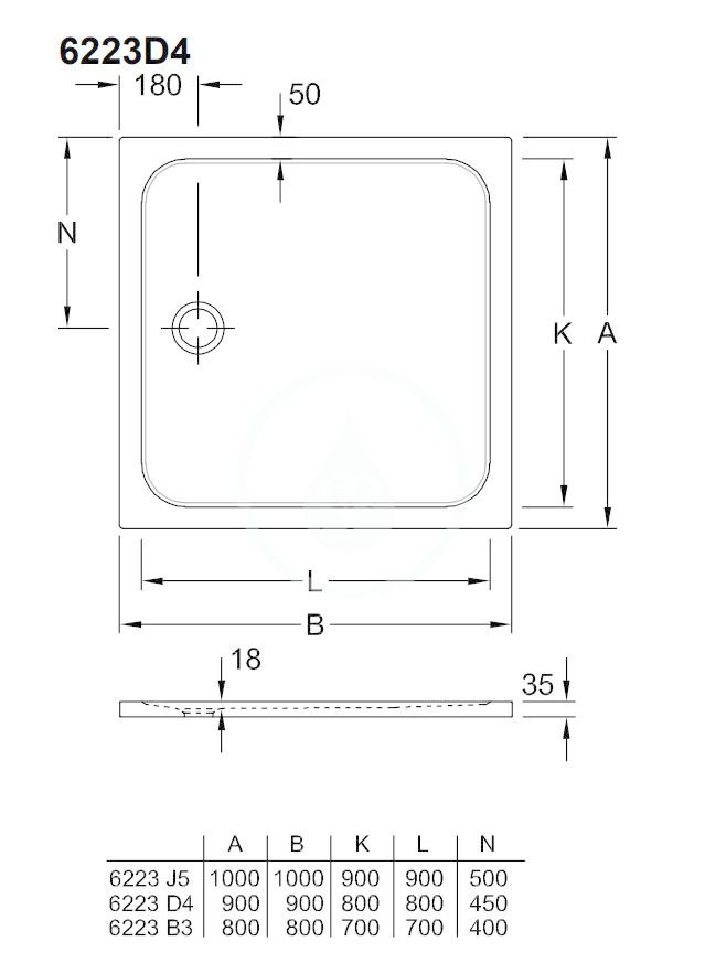 VILLEROY & BOCH - Lifetime Plus Sprchová vanička, 900x900 mm, Anti-slip, alpská biela (6223D401)