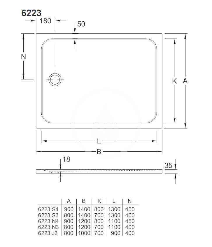 VILLEROY & BOCH - Lifetime Plus Sprchová vanička, 800x1200 mm, Anti-slip, alpská biela (6223N301)