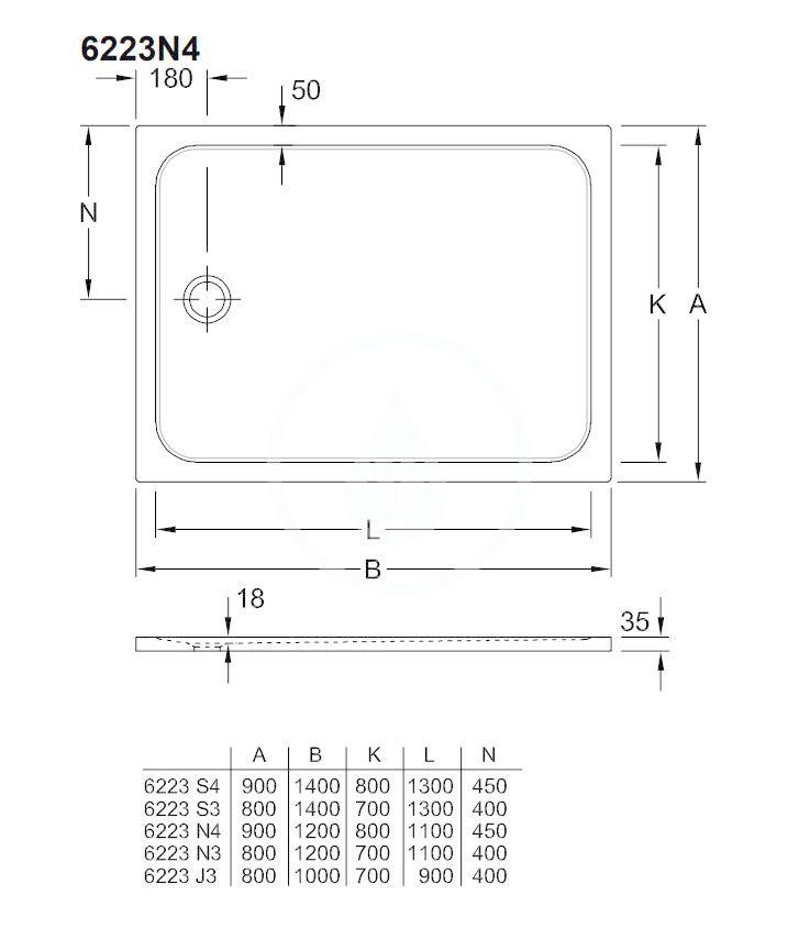 VILLEROY & BOCH - Lifetime Plus Sprchová vanička, 900x1200 mm, Anti-slip, alpská biela (6223N401)