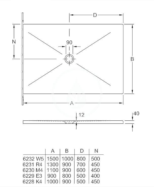 VILLEROY & BOCH - Subway Infinity Sprchová vanička, 900x1000 mm, Anti-slip, X-Plane Anthracite (6228K4VPA3)