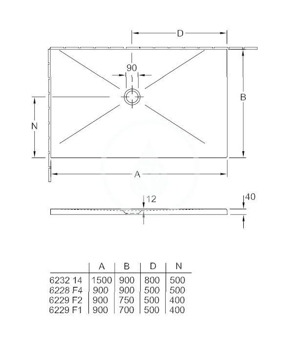 VILLEROY & BOCH - Subway Infinity Sprchová vanička, 700x900 mm, Anti-slip, X-Plane Anthracite (6229F1VPA3)