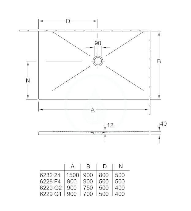 VILLEROY & BOCH - Subway Infinity Sprchová vanička, 700x900 mm, Anti-slip, X-Plane Anthracite (6229G1VPA3)