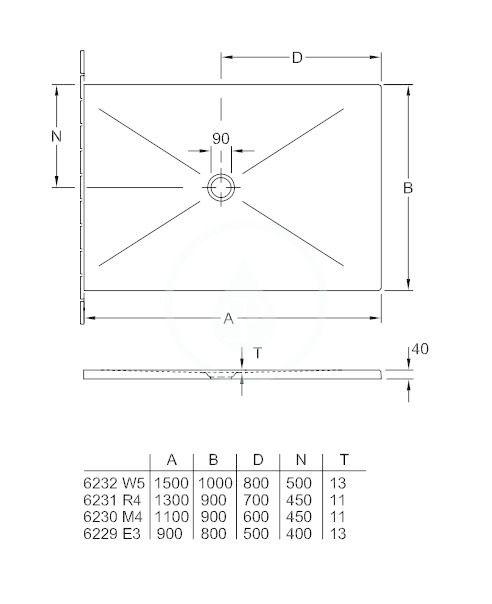 VILLEROY & BOCH - Subway Infinity Sprchová vanička, 900x1100 mm, Anti-slip, X-Plane Anthracite (6230M4VPA3)