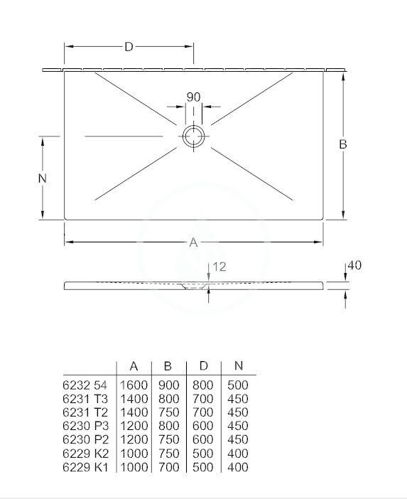 VILLEROY & BOCH - Subway Infinity Sprchová vanička, 750x1200 mm, Anti-slip, X-Plane Anthracite (6230P2VPA3)