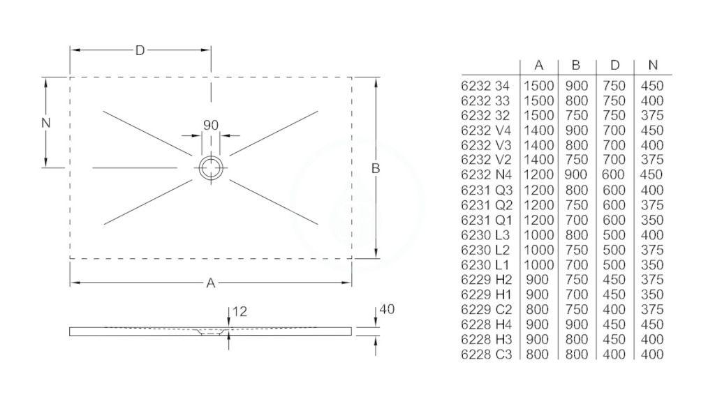 VILLEROY & BOCH - Subway Infinity Sprchová vanička, 900x1200 mm, Anti-slip, X-Plane Anthracite (6232N4VPA3)