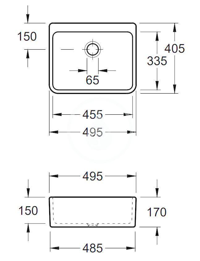 VILLEROY & BOCH - O.novo Keramický drez na dosku, 495x405 mm, AntiBac, alpská biela (632100T1)