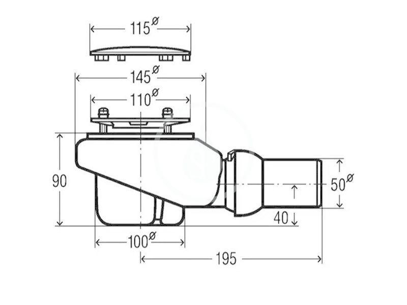 VILLEROY & BOCH - Subway Infinity Odtoková súprava Tempoplex Plus Compact 90 mm, chróm (92260061)