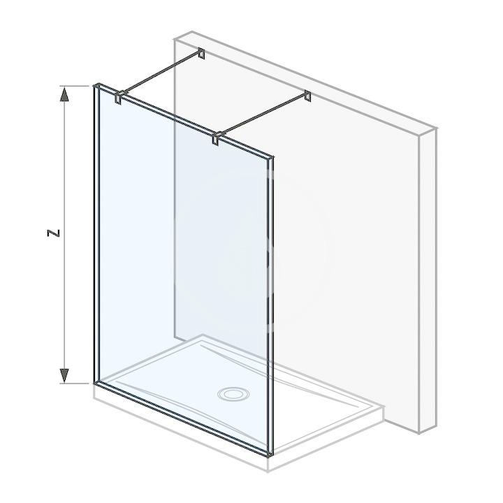 Pure Sklenená stena pevná 140 cm na sprchovú vaničku 140 cmx80 cm a 140 cmx90 cm, s úpravou Jika Perla Glass, 1400 mm x 200 mm x 2000 mm H2674220026681
