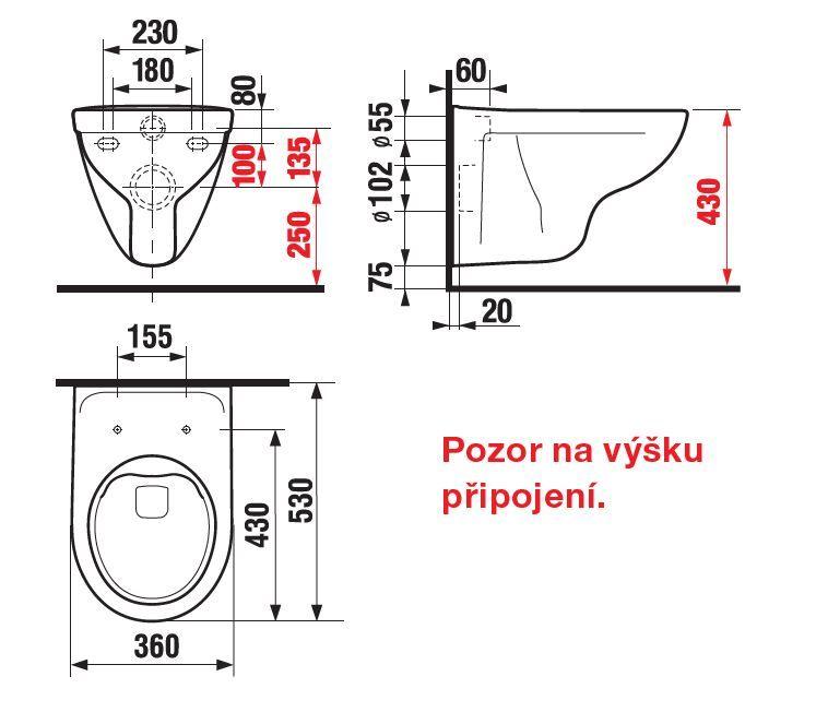 JIKA - Lyra plus Závesné WC, 530x360 mm, Rimless, biela (H8213840000001)