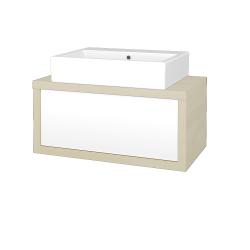 Dreja - Kúpeľňová skriňa STORM SZZ 80 (umývadlo Kube) - D02 Bříza / L01 Bílá vysoký lesk (166823)