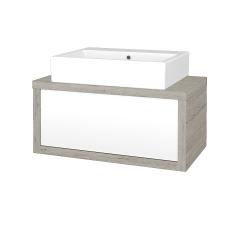 Dreja - Kúpeľňová skriňa STORM SZZ 80 (umývadlo Kube) - D05 Oregon / L01 Bílá vysoký lesk (166885)