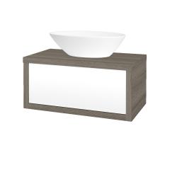 Dreja - Kúpeľňová skriňa STORM SZZ 80 (umývadlo Triumph) - D03 Cafe / L01 Bílá vysoký lesk (167165)