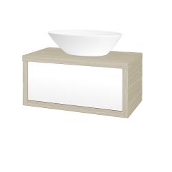 Dreja - Kúpeľňová skriňa STORM SZZ 80 (umývadlo Triumph) - D04 Dub / L01 Bílá vysoký lesk (167172)