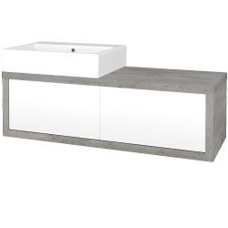 Dreja - Kúpeľňová skriňa STORM SZZ2 120 (umývadlo Kube) - D01 Beton / L01 Bílá vysoký lesk / Pravé (170363P)