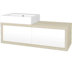 Dreja - Kúpeľňová skriňa STORM SZZ2 120 (umývadlo Kube) - D02 Bříza / L01 Bílá vysoký lesk / Pravé (170370P)