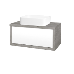 Dreja - Kúpeľňová skriňa STORM SZZ 80 (umývadlo Joy) - D01 Beton / L01 Bílá vysoký lesk (213008)