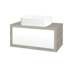 Dreja - Kúpeľňová skriňa STORM SZZ 80 (umývadlo Joy) - D05 Oregon / L01 Bílá vysoký lesk (213046)