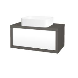 Dreja - Kúpeľňová skriňa STORM SZZ 80 (umývadlo Joy) - N06 Lava / L01 Bílá vysoký lesk (213169)