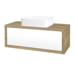 Dreja - Kúpeľňová skriňa STORM SZZ 100 (umývadlo Joy) - D09 Arlington / L01 Bílá vysoký lesk (213459)