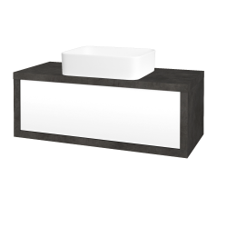 Dreja - Kúpeľňová skriňa STORM SZZ 100 (umývadlo Joy) - D16  Beton tmavý / L01 Bílá vysoký lesk (213497)