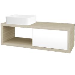 Dreja - Kúpeľňová skriňa STORM SZZO 120 (umývadlo Joy) - D04 Dub / L01 Bílá vysoký lesk / Levé (214586)