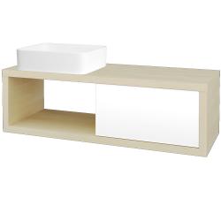 Dreja - Kúpeľňová skriňa STORM SZZO 120 (umývadlo Joy) - D02 Bříza / L01 Bílá vysoký lesk / Pravé (214951P)