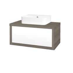 Dreja - Kúpeľňová skriňa STORM SZZ 80 (umývadlo JOY 3) - D03 Cafe / L01 Bílá vysoký lesk (217693)