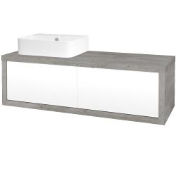 Dreja - Kúpeľňová skriňa STORM SZZ2 120 (umývadlo JOY 3) - D01 Beton / L01 Bílá vysoký lesk / Levé (218454)