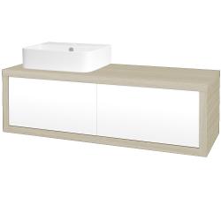 Dreja - Kúpeľňová skriňa STORM SZZ2 120 (umývadlo JOY 3) - D04 Dub / L01 Bílá vysoký lesk / Levé (218485)