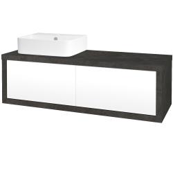Dreja - Kúpeľňová skriňa STORM SZZ2 120 (umývadlo JOY 3) - D16  Beton tmavý / L01 Bílá vysoký lesk / Levé (218560)