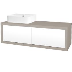 Dreja - Kúpeľňová skriňa STORM SZZ2 120 (umývadlo JOY 3) - N07 Stone / L01 Bílá vysoký lesk / Pravé (219024P)