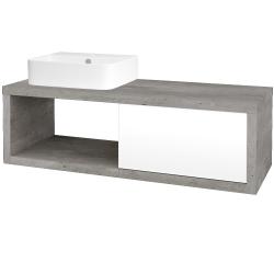 Dreja - Kúpeľňová skriňa STORM SZZO 120 (umývadlo JOY 3) - D01 Beton / L01 Bílá vysoký lesk / Pravé (219628P)