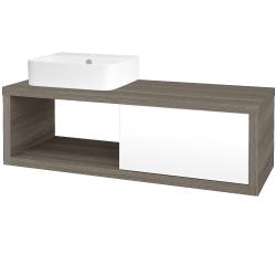 Dreja - Kúpeľňová skriňa STORM SZZO 120 (umývadlo JOY 3) - D03 Cafe / L01 Bílá vysoký lesk / Pravé (219642P)
