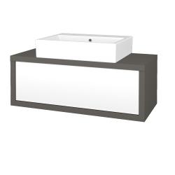 Dreja - Kúpeľňová skriňa STORM SZZ 100 (umývadlo Kube) - N06 Lava / L01 Bílá vysoký lesk (221225)