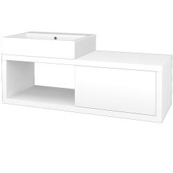 Dreja - Kúpeľňová skriňa STORM SZZO 120 (umývadlo Kube) - M01 Bílá mat / L01 Bílá vysoký lesk / Levé (221744)