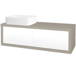 Dreja - Kúpeľňová skriňa STORM SZZ2 120 (umývadlo Joy) - L04 Béžová vysoký lesk / L01 Bílá vysoký lesk / Pravé (252038P)