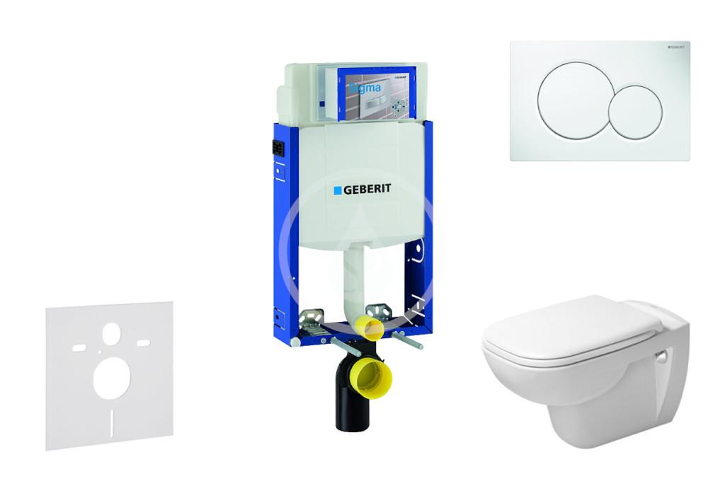 GEBERIT - Kombifix Modul pro závěsné WC s tlačítkem Sigma01, alpská bílá + Duravit D-Code - WC a sedátko, Rimless, SoftClose (110.302.00.5 NH1)
